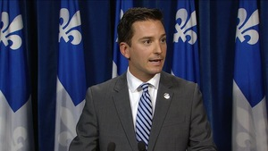 Simon Jolin-Barrette en point de presse