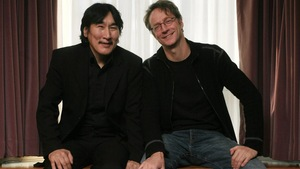 Actor Natar Ungalaaq, left, and director Benoit Pilon pose for a portrait while promoting their film The Necessities of Life in Toronto on Friday, February 6, 2009. THE CANADIAN PRESS/Darren Calabrese