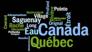 Les noms de lieux comme Canada, Québec, Chicoutimi et Saguenay et leur signification village, étroit et profond parsemés sur une image.