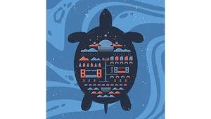 Une illustration artistique qui représente une tortue