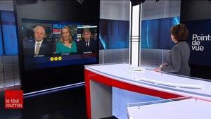 Daniel Lessard, Tasha Kheiriddin et Michel David apparaissent à l'écran de Céline Galipeau sur le plateau du Téléjournal 22 h.