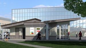 Croquis du pavillon d'information, dont la  fin de la construction est prévue en 2018.