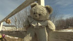 Des peluches sont attachées à une clôture qui entoure le cimetière près de l'École industrielle autochtone de Regina.
