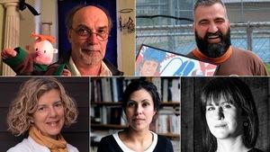 Montage photos des portraits des 5 finalistes du prix du récit Radio-Canada 2018.