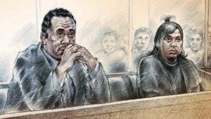 Dessin juridique du couple dans le box des accusés