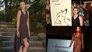 Collage de deux photos : Une femme pose avec une robe de la designer, et la designer se tient à côté de la bannière de son entreprise.