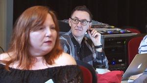 René Richard Cyr et Kathleen Fortin lors des répétitions de la comédie musicale « Demain matin, Montréal m'attend ».