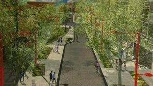 Des piétons et des cyclistes circulent dans un rendu de travaux d'urbanisme.