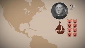 bateau transportant des cochons d'Europe