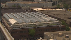 Des serres sur le toit l'un immeuble en pleine ville.
