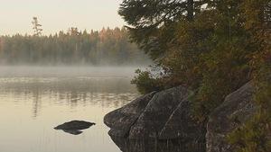 Plan d'eau du Parc national Kejimkujik avec la brume du matin.