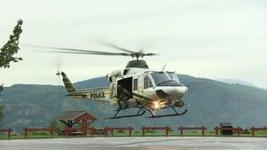 Un hélicoptère de la Sûreté du Québec qui participe aux recherches