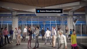 Représentation artistique d'une station projetée du Réseau électrique métropolitain