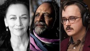 Montage des portraits : Sylvie Drapeau à gauche en noir et blanc, Rodney Saint-Éloi au centre en couleur, et à gauche, le poète Baron Marc-André Lévesque.