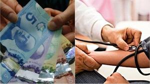Une image illustre des billets de banque. À côté, l'image d'un médecin vérifiant la pression d'un patient.