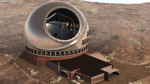 Représentation artistique à vol d'oiseau du projet du plus grand télescope du monde (TMT) à Hawaï