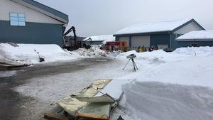 Le toit d'un bâtiment de ferme s'est effondré sous le poids de la neige à Saint-Tite