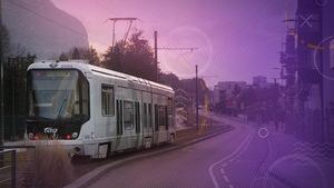 Le tramway dans une banlieue de Grenoble
