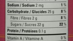 Des chiffres sur un tableau de la valeur nutritive