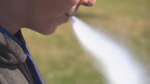 Un adolescent expire une épaisse fumée provenant d'une cigarette électronique qu'il vient de respirer.