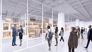 Une image de rendue d'une pièce contenant plusieurs tableaux entreposée. Des visiteurs regardent les tableaux à travers une vitrine.