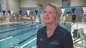 L'entraîneure-chef du club de natation Les Dauphins de Rimouski, Alexandra Tessier.