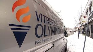 Un camion de Vitrerie olympique