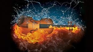 Conception graphique : un violon flanqué d'eau d'un côté et de feu de l'autre.