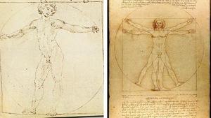 Collage de deux croquis dessinés sur du papier jauni montrant un homme nu.