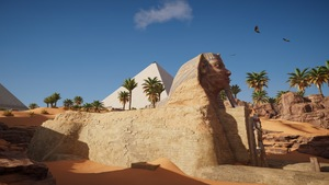 La reconstitution du Sphinx de Gizeh pour le jeu <i>Assassin's Creed Origins</i>.