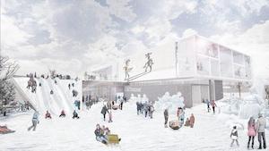 Image montrant l'extérieur d'une bibliothèque en hiver où des gens glissent sur une glissoire de neige.