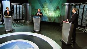 Les chefs des trois principaux partis au Nouveau-Brunswick croisent le fer lors du débat des chefs de la campagne électorale provinciale 2014.