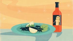 Cette illustration montre une assiette contenant une salade d'insecte. À côté repose une bouteille de vinaigrette avec un robot dessus.