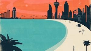 Une illustration montrant une ville futuriste au loin avec, au premier plan, une plage parsemée de palmiers devant une eau bleue.