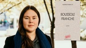 L'auteure Amber O'Reilly et la couverture de son recueil de poésie 'Boussole Franche'.