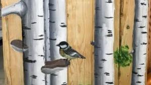 Toile peinte illustrant des troncs de bouleaux et un petit oiseau.