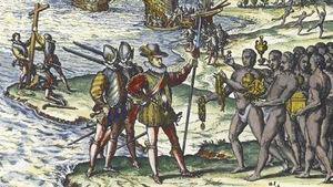 Gravure montrant un homme recevant des trésors en or.
