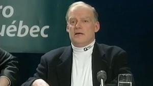 André Caillé lors d'une conférence de presse de la crise du verglas de 1998
