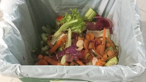 Bac à compost avec résidus de légumes