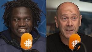 Boucar Diouf et Mario Cyr au studio 17 de Radio-Canada, à Montréal, le 14 octobre 2018.