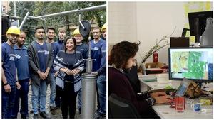 A gauche : Atelier d'apprentissage pour les réfugiés à la Berliner Wasserbetriebe à Berlin. A droite : La start-up Adventure qui attire les travailleurs étrangers à Berlin.
