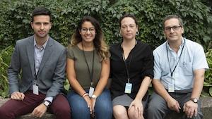 Miguel Ouellette (étudiant en sciences économiques), Kaouther Saadi (étudiante au Barreau), Natalie Stake-Doucet (infirmière et doctorante) et Robert Bernier (enseignant en physique).