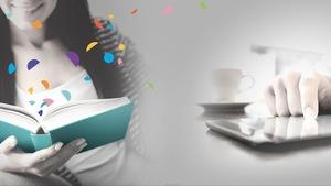 femme qui lit avec confettis qui sortent de son livre, homme qui lit sur une tablette.