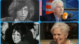 (en haut )Gilles Duceppe, jeune militant en 1968 et Gilles Duceppe en 2018. (en bas)Louise Harel, lors d'une manifestation en 1969 et Louise Harel en 2018.