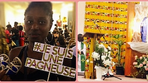 Jeune participante à la vente de Nana wax tenant une pancarte où il est écrit: « Je suis pagneuse ».  Et, un mur de l'église Notre-Dame-d'Afrique de Montréal recouvert de ce tissus coloré.