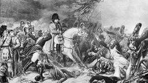 La retraite de Napoléon à la bataille de Waterloo, telle qu'illustrée par le peinte Steuben