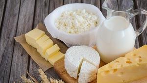 Des produits laitiers présentés sur une table.