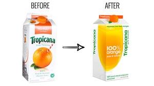Le contenant de jus d'orange avant et après le changement d'image de marque.