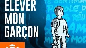 Le dessin d'un petit garçon avec son ombre devenue adolescent et le libellé « Élever mon garçon ».