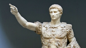 Détail d'une sculpture de l'empereur Octave Auguste